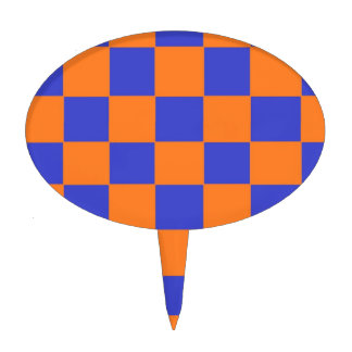 Orange and Blue Checkers Cake Toppers
