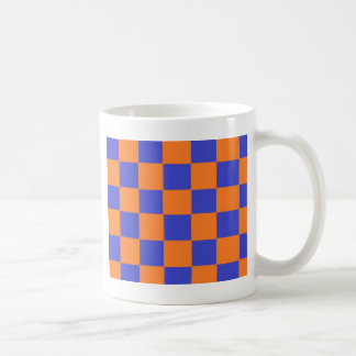 Orange and Blue Checkers Classic White Coffee Mug