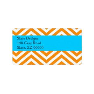 Orange and Blue Chevron Address Label