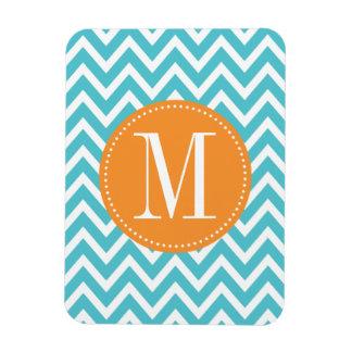 Orange and Blue Chevron Custom Monogram Magnet