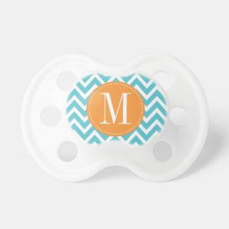 Orange and Blue Chevron Custom Monogram Baby Pacifiers