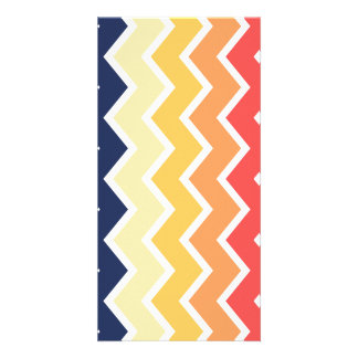 Orange And Blue Chevron Geometric Designs Color Card