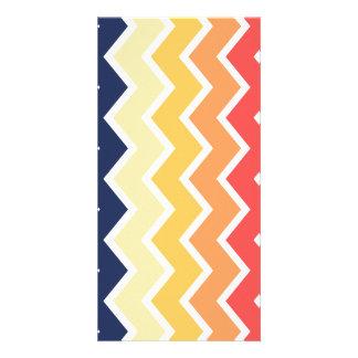 Orange And Blue Chevron Geometric Designs Color Photo Card