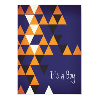 Orange and Blue Chevron Print Invitation