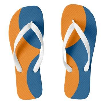 Beach Themed Orange and Blue Color in Circular Design Flip Flops
