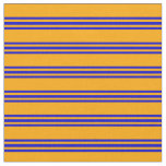 [ Thumbnail: Orange and Blue Colored Stripes/Lines Pattern Fabric ]