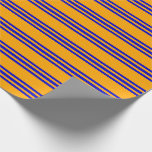 [ Thumbnail: Orange and Blue Colored Stripes/Lines Pattern Wrapping Paper ]
