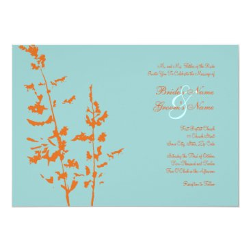 Beach Themed Orange and Blue Country Floral Wedding Invitation