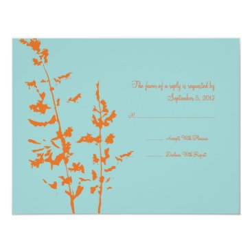 Beach Themed Orange and Blue Country Floral Wedding RSVP Card