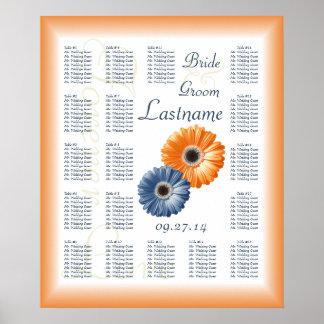 Orange and Blue Daisy Wedding Seating Chart