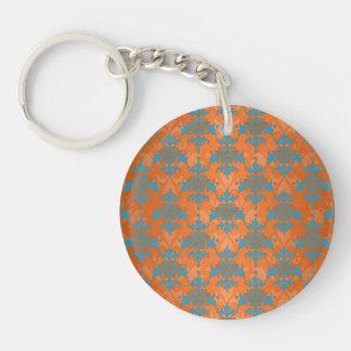 Orange and Blue Damask Keychain
