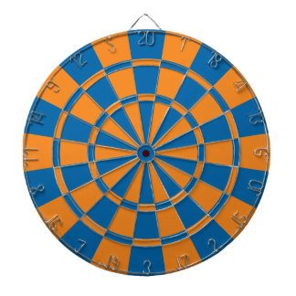 Orange And Blue Dartboard With Darts