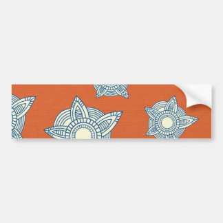 Orange and Blue Decorative Pattern Gifts Bumper Stickers