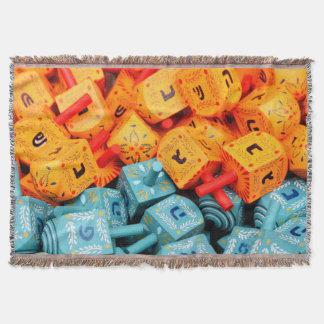 Orange and Blue Dreidels Throw Blanket