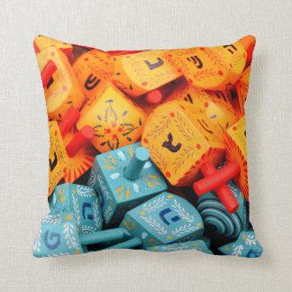 Orange and Blue Dreidels Throw Pillow