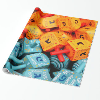 Orange and Blue Dreidels Wrapping Paper