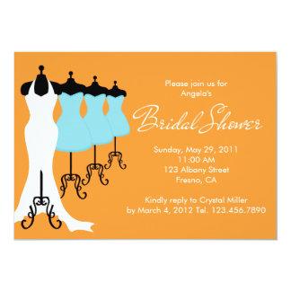 "Orange and Blue Dresses Bridal Shower Invitation 5"" X 7"" Invitation Card"