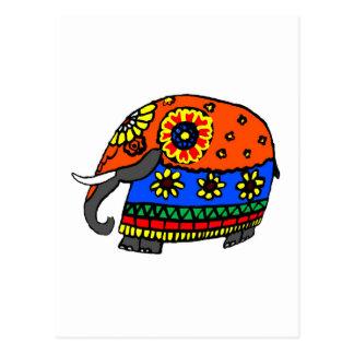Orange and Blue Elephant with Flowers Postcard