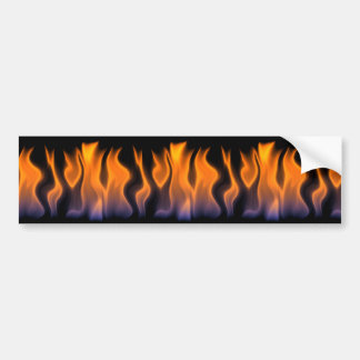 Orange and Blue Flames on a Black Background Car Bumper Sticker