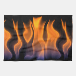 Orange and Blue Flames on a Black Background Hand Towel