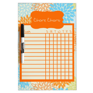 Orange and Blue Floral Chore Chart Dry-Erase Whiteboards