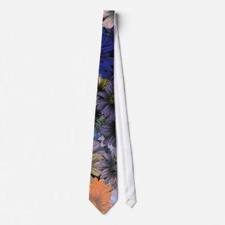 Orange and blue floral neck tie