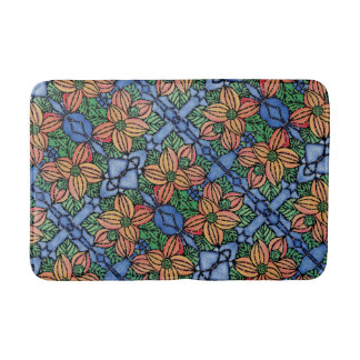 Orange And Blue Floral Pattern Bathroom Mat