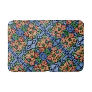 Orange And Blue Floral Pattern Bathroom Mat