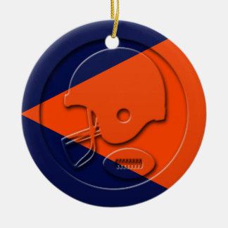 Orange and Blue Football and Helmet Ceramic Ornament