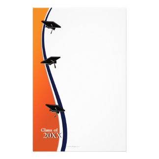 Orange and Blue Graduation Note Paper Stationery