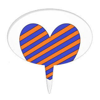 Orange and Blue Heart Cake Toppers