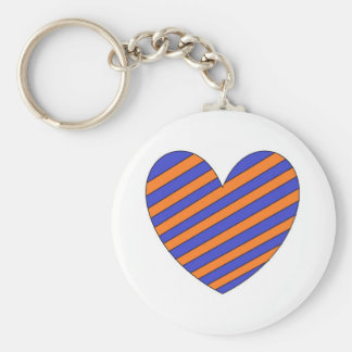 Orange and Blue Heart Key Chain