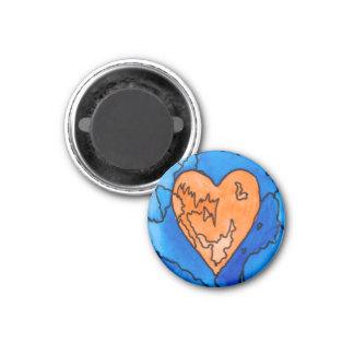 Orange and Blue Heart Magnet