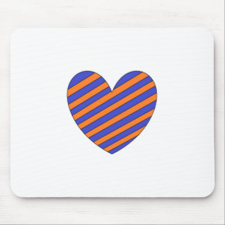 Orange and Blue Heart Mouse Pad