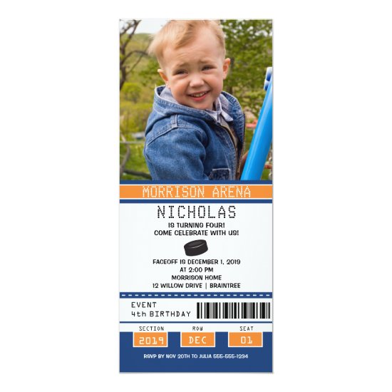 Orange and Blue Hockey Ticket Birthday Invitation