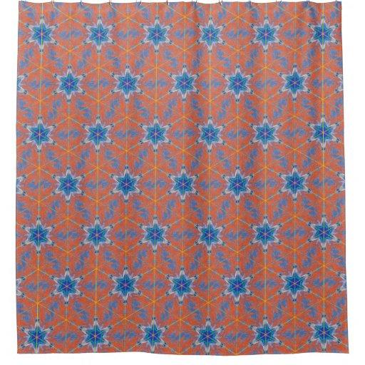 orange and blue kaleidoscope shower curtain zazzle. Black Bedroom Furniture Sets. Home Design Ideas