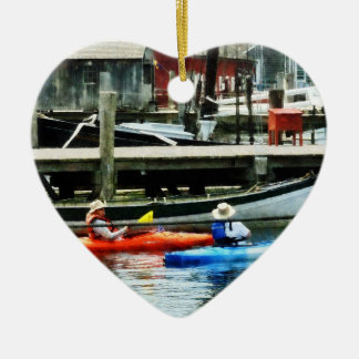 Orange and Blue Kayaks Christmas Ornament