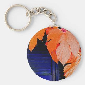 Orange and Blue Basic Round Button Keychain