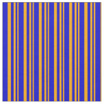 [ Thumbnail: Orange and Blue Lines Pattern Fabric ]