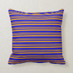 [ Thumbnail: Orange and Blue Lines Pattern Throw Pillow ]