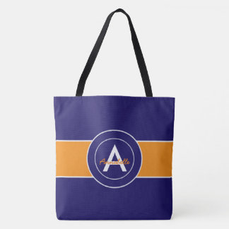 Orange and Blue Monogram Personalized Tote Bag