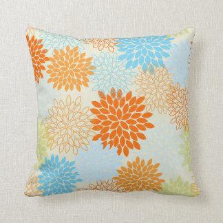 Orange and Blue Mums Pillows