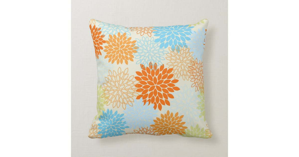 Decorative Pillows Orange And Blue : Orange and Blue Mums Throw Pillow Zazzle