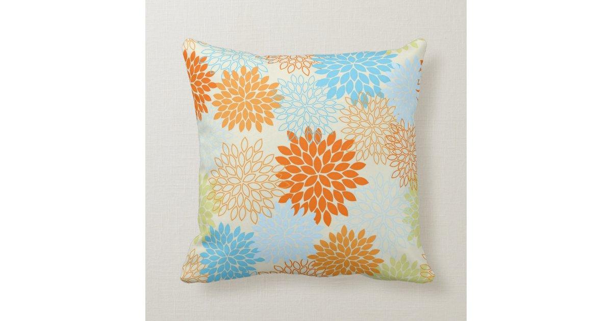 Decorative Pillows Orange And Blue : Orange and Blue Mums Throw Pillow Zazzle