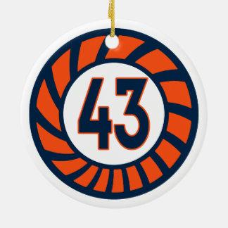 Orange and Blue Number 43 Retro Ceramic Ornament