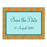 Orange and Blue Paisley Pattern Save the Date Card Postcards