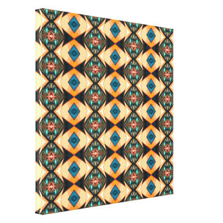Orange And Blue Pattern Canvas Print
