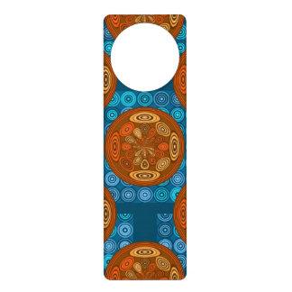 Orange and blue pattern door hanger
