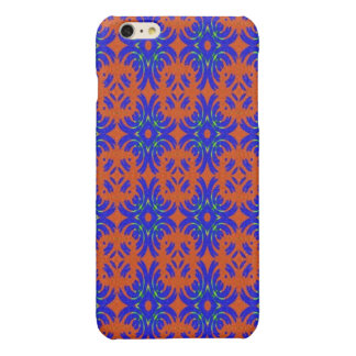 Orange and blue pattern glossy iPhone 6 plus case