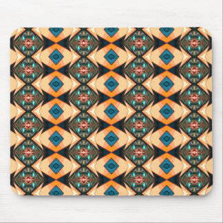 Orange And Blue Pattern Mouse Pad